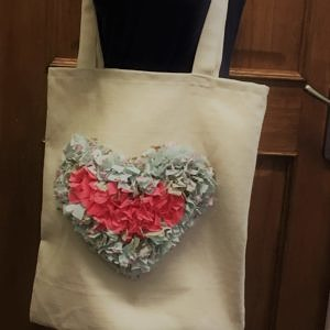 cream rag rug bag pink