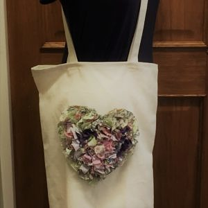 cream rag rug bag purple
